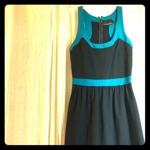 Cynthia Rowley black dress with teal trim
